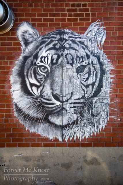 Tiger Art, New York city graffiti wall urban