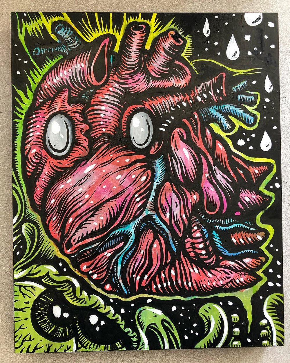 Vicky Valves - Vicky is a heart ghost created specifically for the event. Painted on gesso board with acrylics and ink.