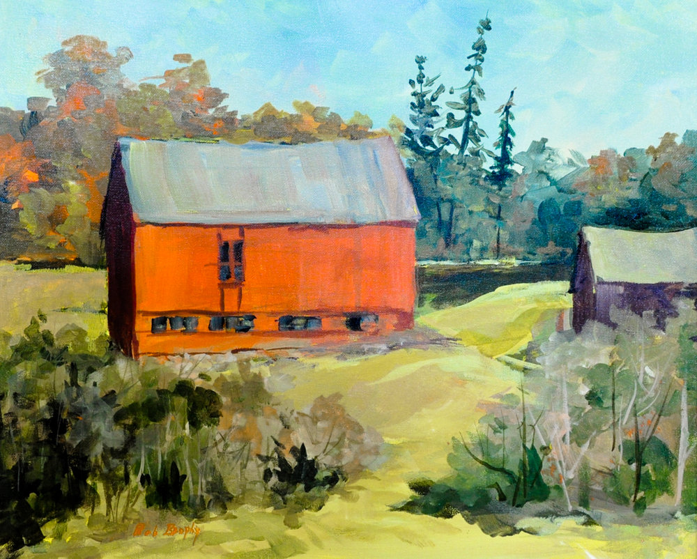 """Barns on a Hill""  Acrylic painting by Bob Brophy"