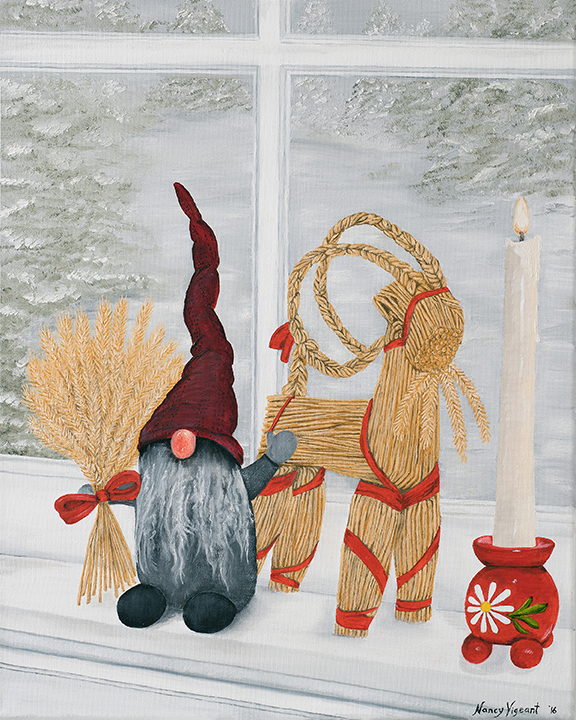 Tomte, Julbock & Red Ball Candle