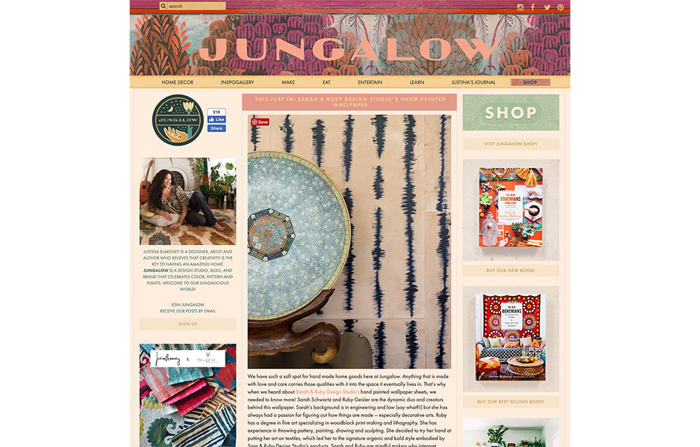 Sarah and Ruby's hand painted sheet wallpaper is featured on the Jungalow blog.