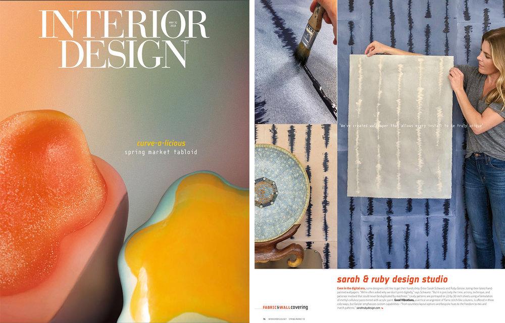 Good Vibrations handpainted sheet wallpaper is shown in Interior Design magazine.