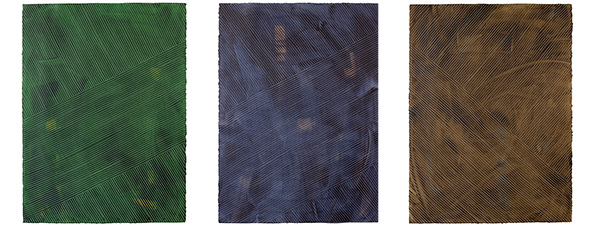 Lanai handpainted wallpaper comes in three colorways: jungle (green), indigo (blue), and tobacco (brown)