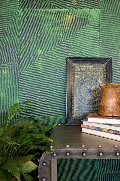Lanai handpainted sheet wallpaper - shown in Jungle (green)