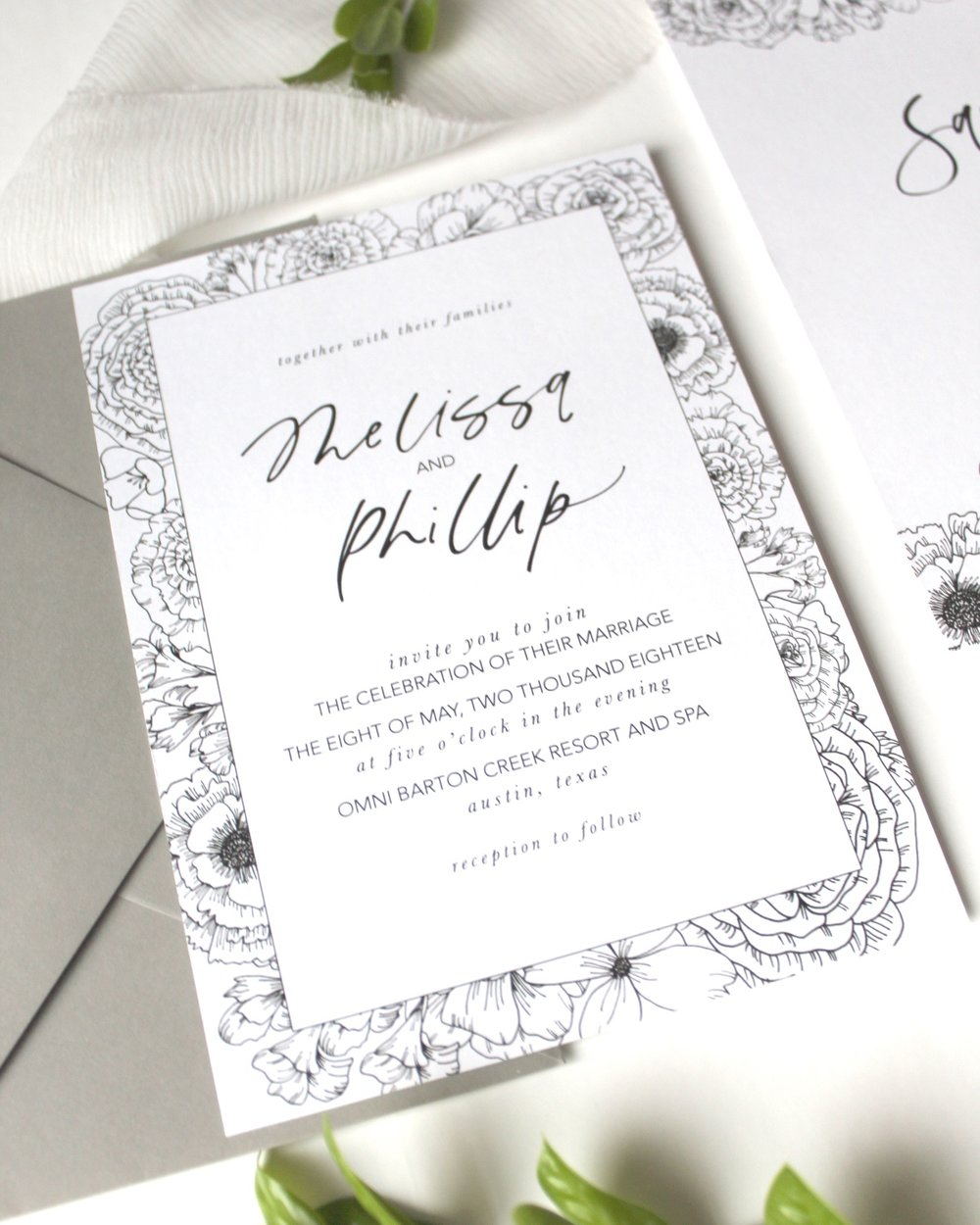 The Melissa Floral - This semi-custom modern calligraphy invitation features hand-drawn floral illustrations and traditional calligraphy lettering, it is definitely a suite that your guests will remember.