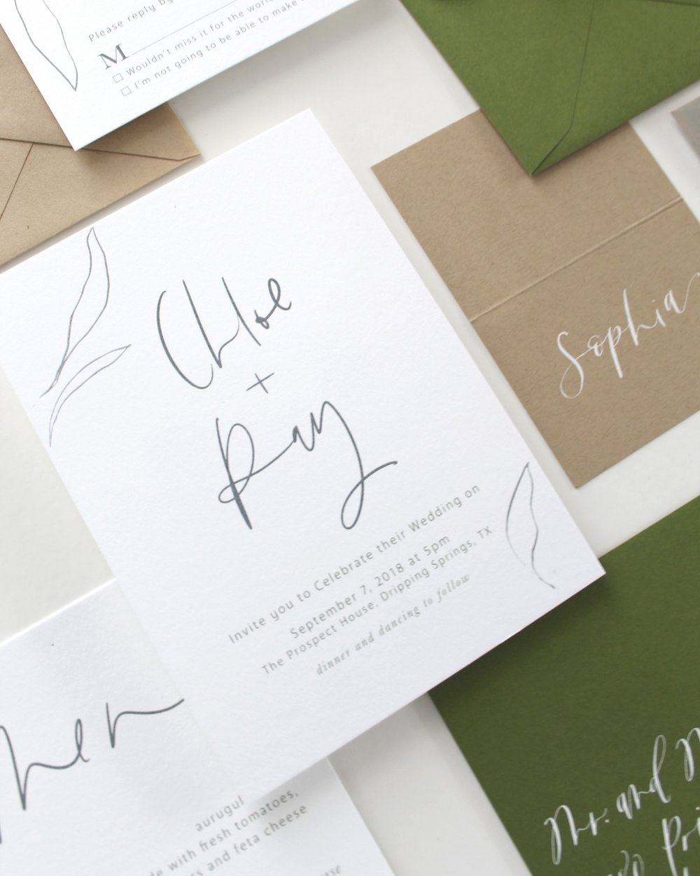 The Chloe Minimalist Suite - This semi-custom modern calligraphy invitation features airy illustrations and calligraphy, if you're looking into minimalist vibes and simple designs, this is definitely the best option for you!