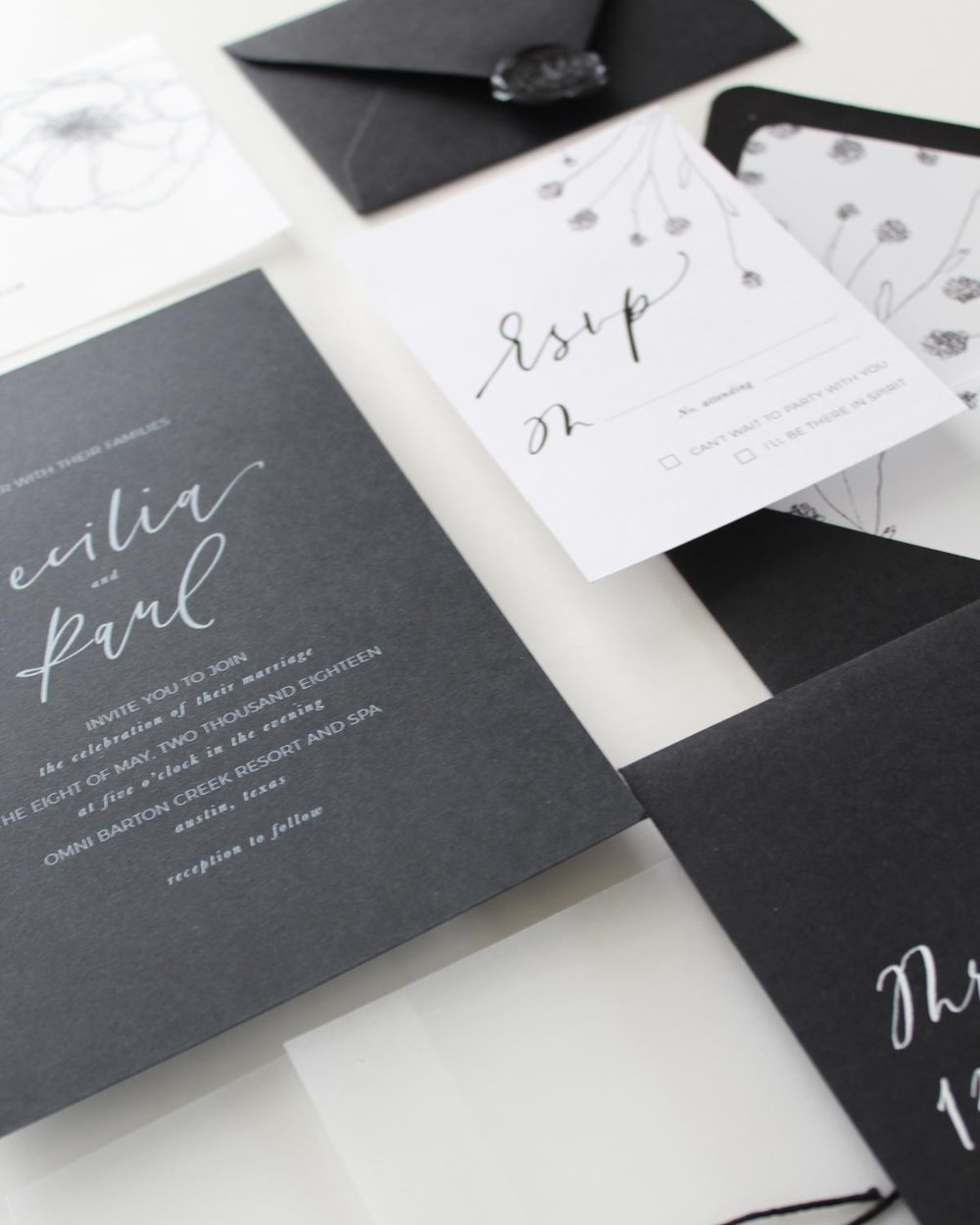 The Cecilia Vellum - This semi-custom modern calligraphy invitation features hand-drawn floral illustrations, traditional calligraphy lettering, and vellum details, you and your guests will fall for this suite instantly!