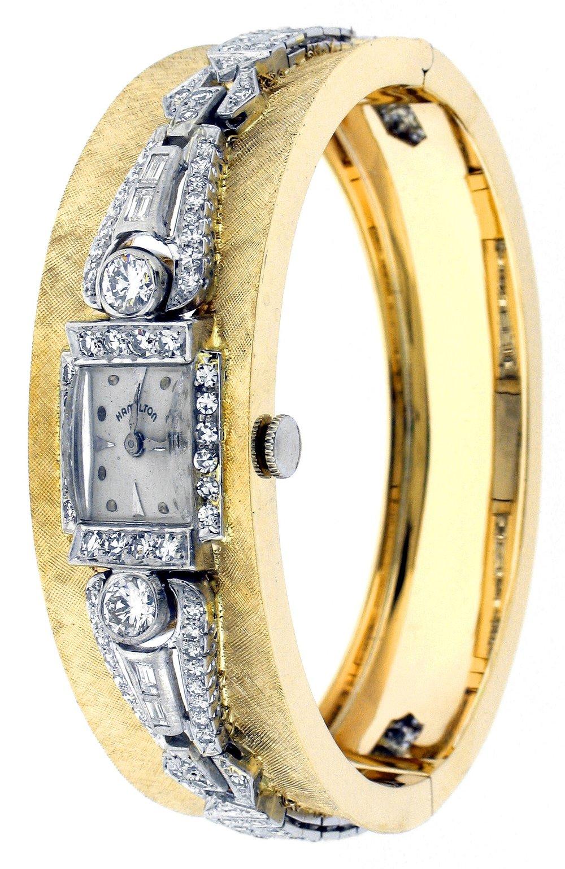Antique diamond Hamilton watch into a cuff bracelet