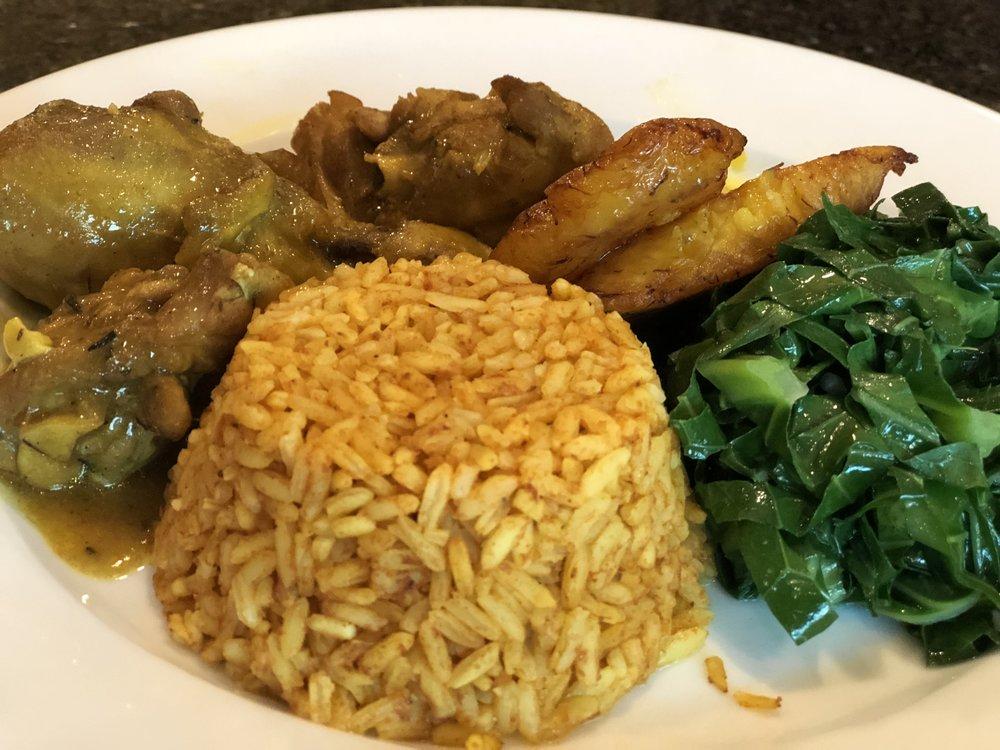 curry chicken collard greens platains.jpg