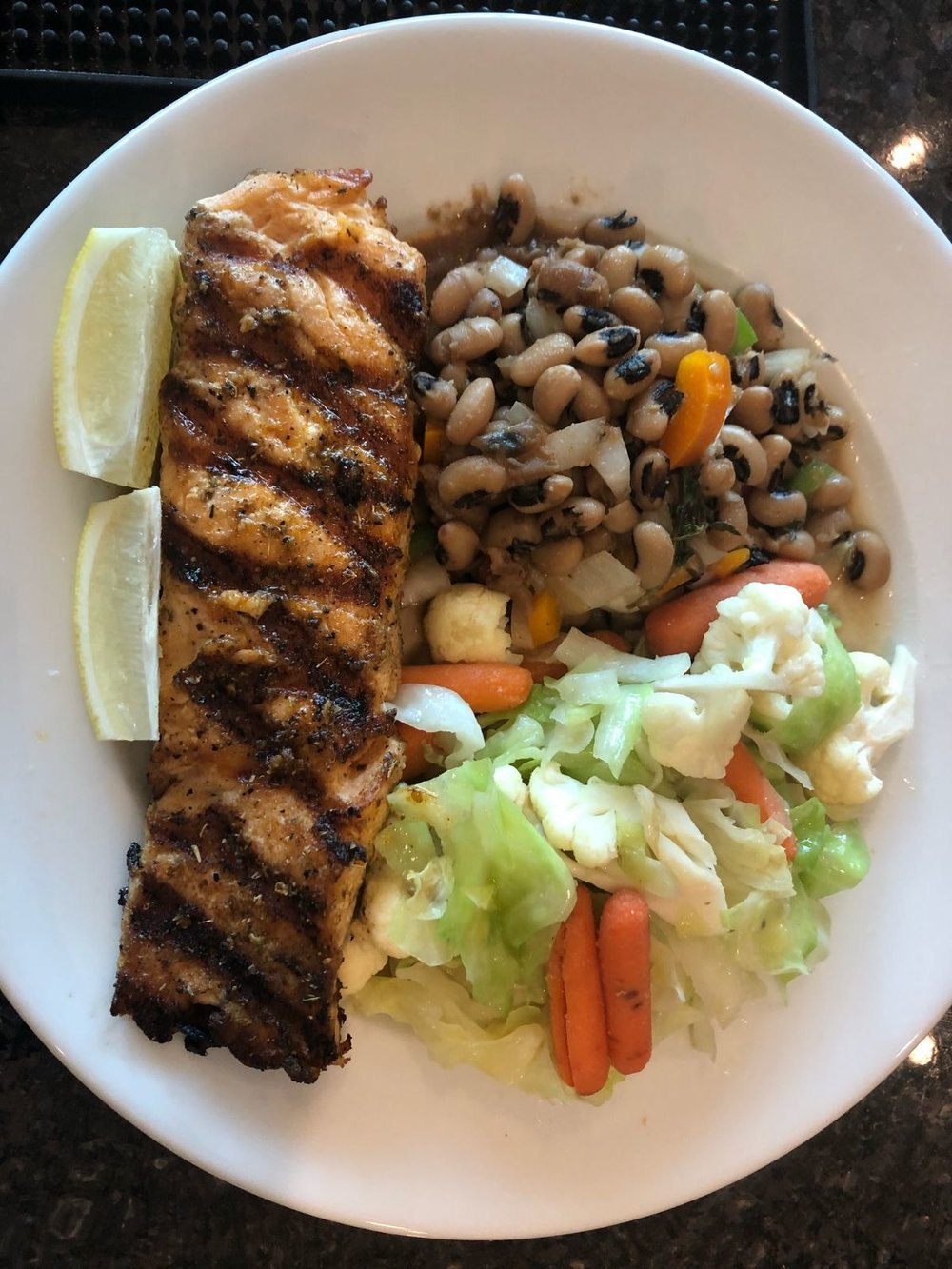Salmon with Steamed Vegetables and Black Eye Peas .jpg