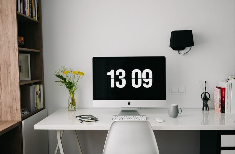 all white home office decor