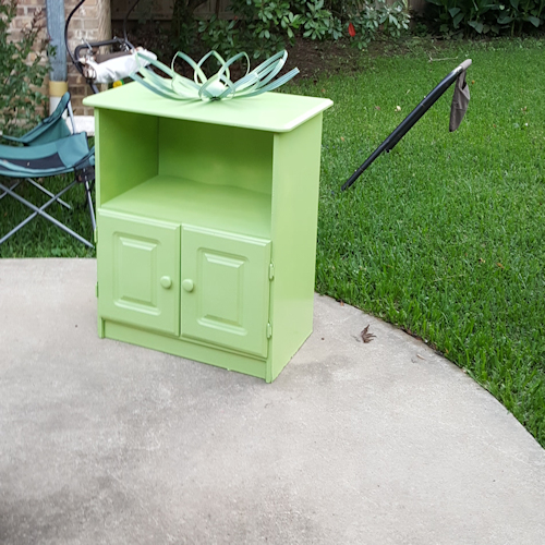 spray painted cabinet