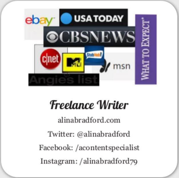 Business cards for freelance writers