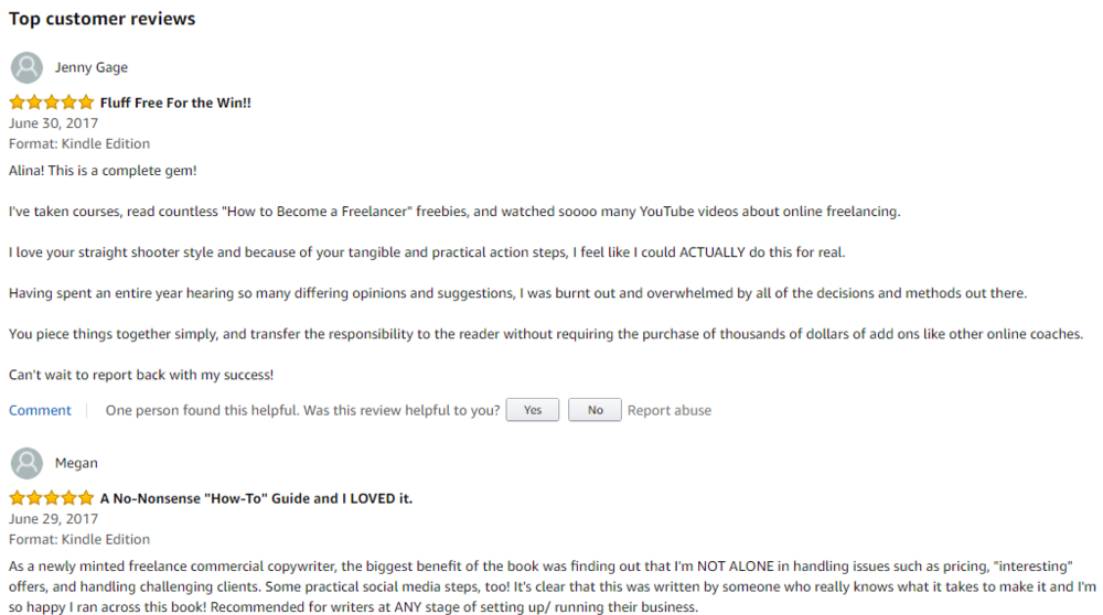 A couple of reviews for my book  The Fluff-Free Freelance Writing Master Course Workbook