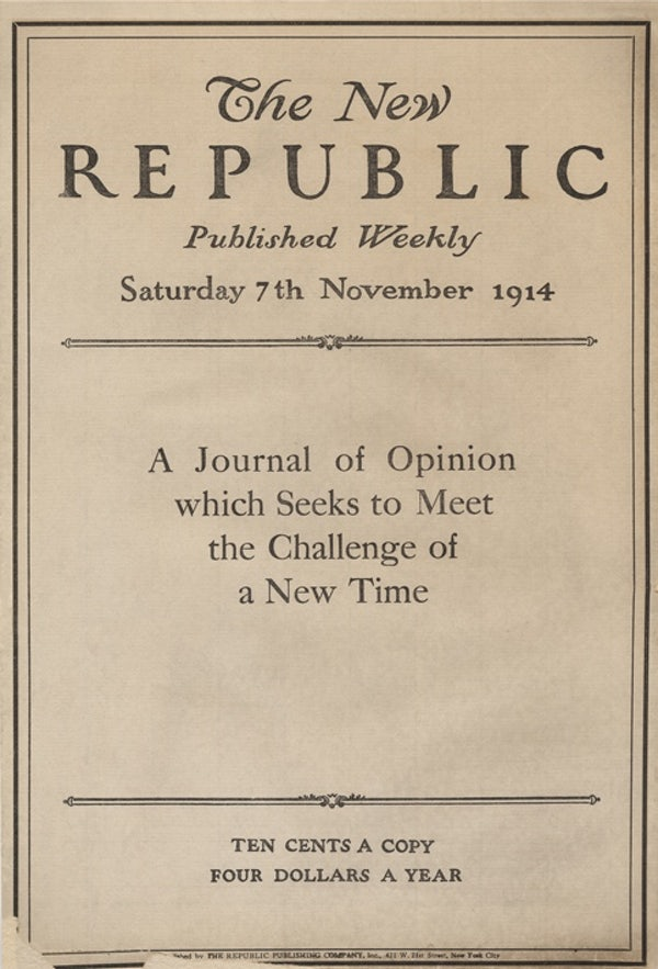 "On The New Republic's Centennial Anthology - Not once or twice but on six occasions does the magazine's editor describe its brand of liberalism as ""hardened"" or ""hardheaded."" That is not counting his declaration that liberalism's ""expectations for politics and human nature remain on the hard ground, not up in the utopian sky."" This in a volume containing George Orwell's ""Politics and the English Language"" (crassly promoted online as ""George Orwell's Brilliant Guide to Writing Well""). (The Nation)"