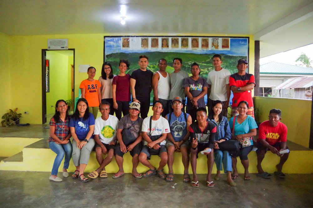 Photo taken after the Impact Hub awareness event with members of Barangay Calawit and Quezon in Palawan. In photo are some Tagbanua members of the local mudcrab association.