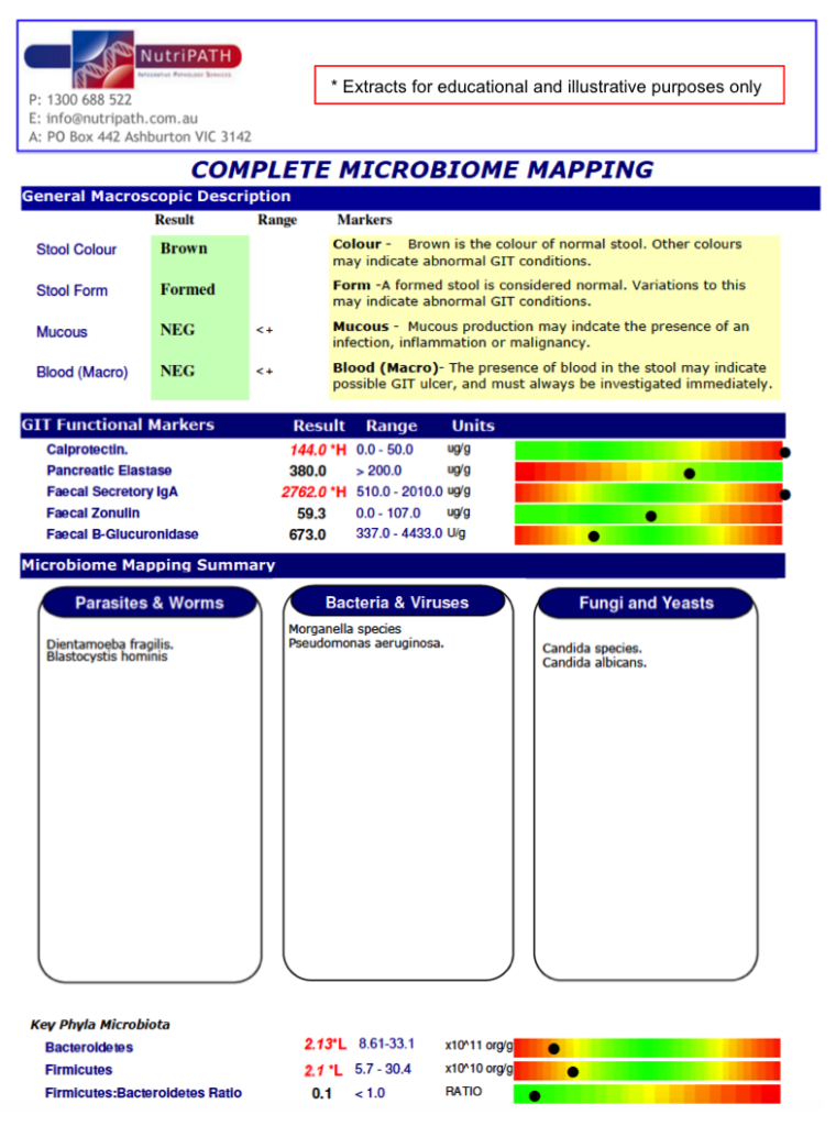 Complete Microbiome Mapping Test Stool DNA Nutripath GI Map Australia