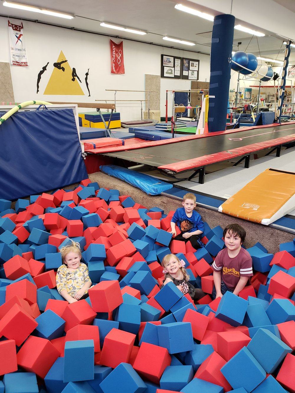 30 & 40' Tumble Tracks - Conrad location sports a 15'x15' in ground, loose foam pit & 12'x 12' climbing net.