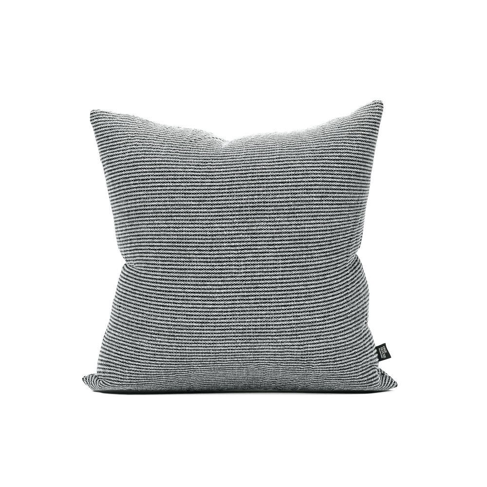 Illinois - While grey and ivory are always classic, the pillow's weave represents a new take on ticking stripes. Its understated texture adds even more visual interest to any sofa or bed.