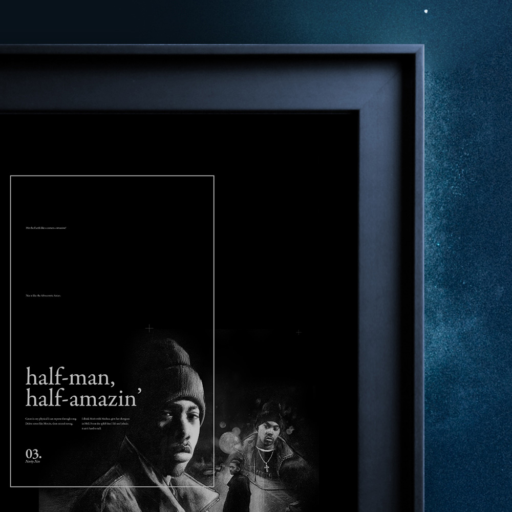 NASTY NAS - A highly limited print featuring detailed hand-drawn illustrations of Nasir Jones - The rapper known as Nasty Nas. Nas Escobar in all his glory, and simply Nas to those of us that hold him dear.