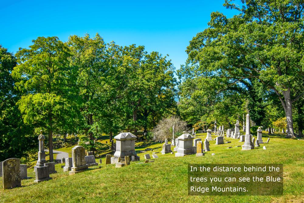 Asheville - Montford - Riverside Cemetery - View of the Blue Ridge Mountains