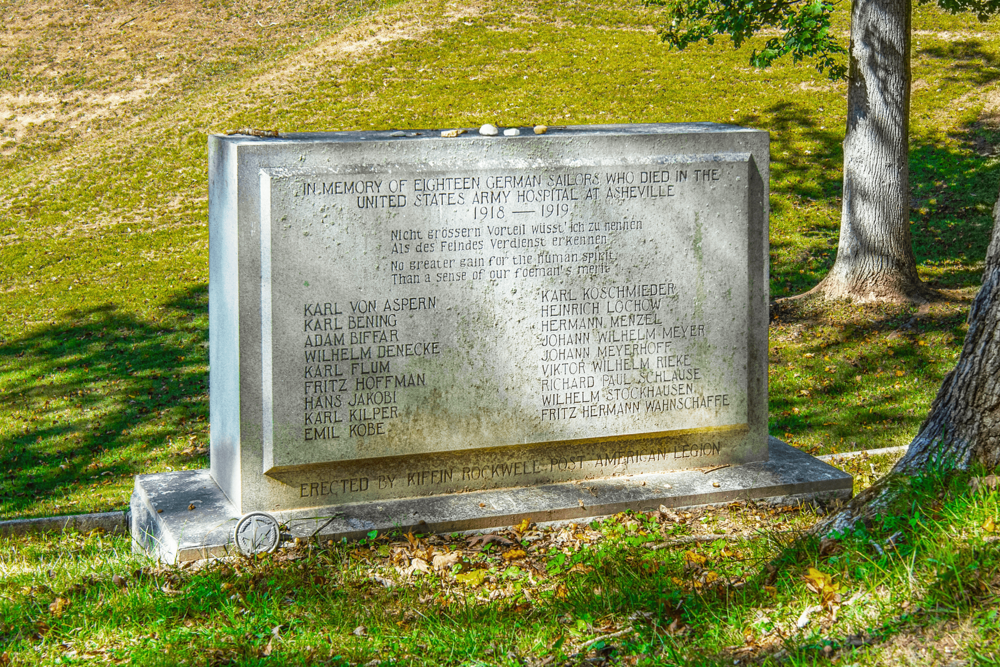 When the U.S. entered WWI in 1917, German and Austrian commercial ships with passengers, officers and crew members were seized along the entire east coast. Some 2,500 German and Austrian noncombatants were interned at  The Mountain Park Hotel  in Hot Springs. During this period, 18 German sailors passed away from typhoid fever and were buried at the  Riverside Cemetery .