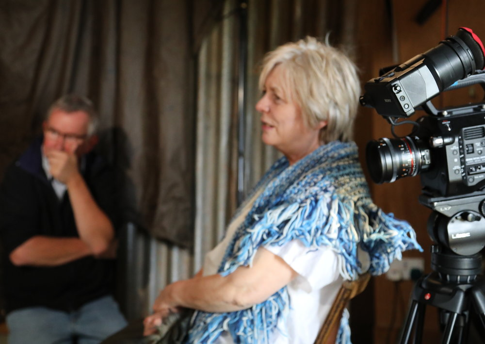 Alison Steadman on Off Grid film set