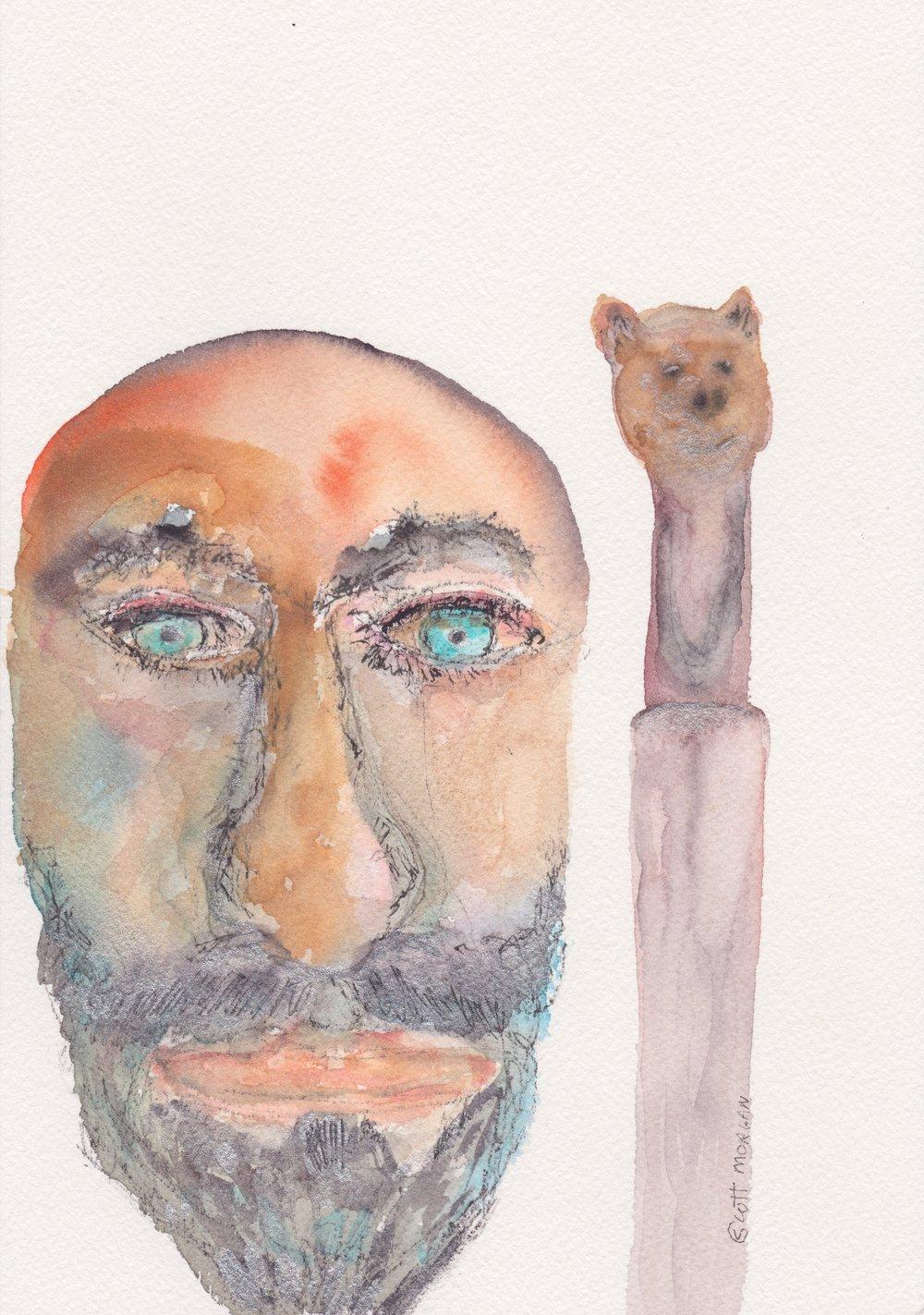 Self portrait with bear walking stick.