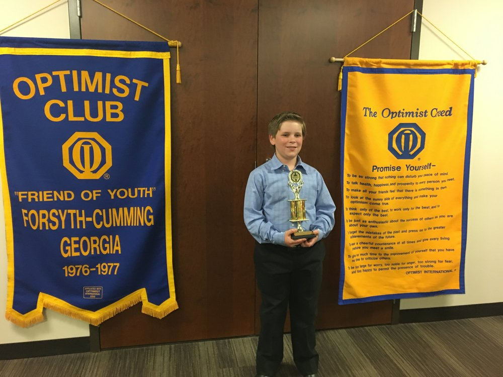 1st Place Forsyth County Elementary Oratorical Winner