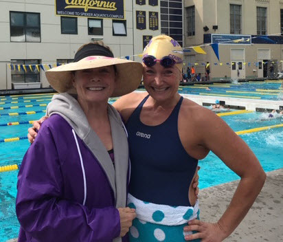 Laura (right) and her mom both swim for Walnut Creek Masters.