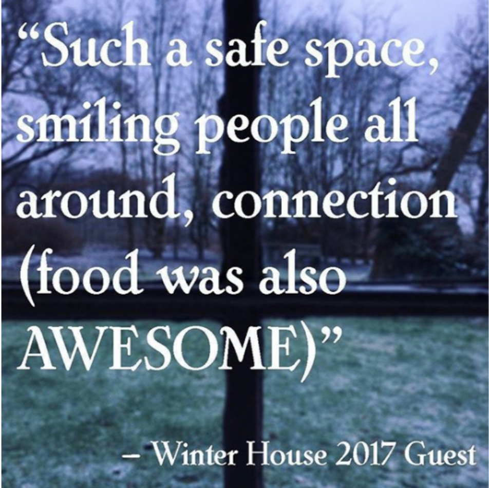 Such a safe space, smiling, people all around, connection (Food was also AWESOME)