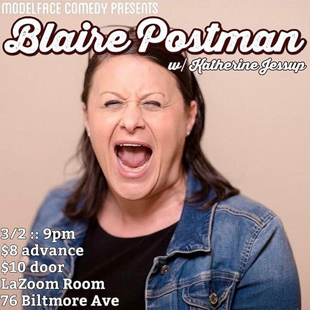 SATURDAY! Come see @bpostmancomedy split sides and laugh til ya toot! You can also meet some of your favorite derby players - we'll be there slinging Blue Ridge Roller Derby merch, and we'll sign your babies foreheads 💙