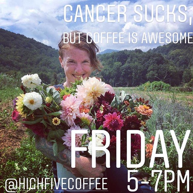 Help us support one of our own, @wrex_n_effects as she kicks cancer right in the chesticles! 💙 TONIGHT, stop by @highfivecoffee and get ya a cup o' joe or enter the raffle/silent auction (or do it all)! Proceeds will go directly to Wrex for those nasty medical bills and living expenses. 5-7pm TONIGHT