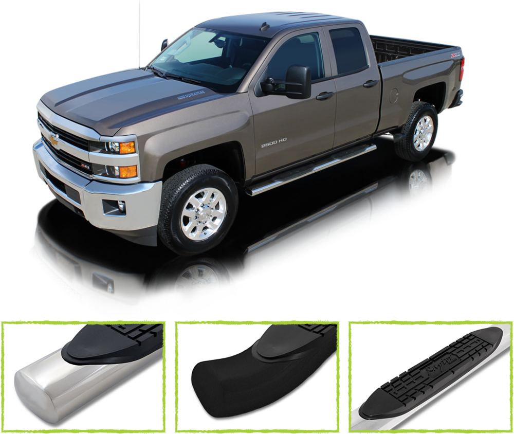 "nerf bars - Cab length steps for getting in and out of your truck. 3"" to 6"" widths available in black powder coat or stainless steel."