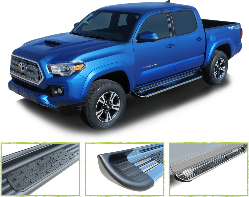 running boards - Cab length or wheel to wheel for cab entry and exiting. Several materials, and styles available with a vehicle specific fit.