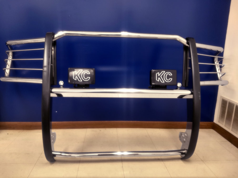 *U-5071 - Aries HD stainless steel grill guard with fog lights for a 2011-C GMC. Showroom price $699.99