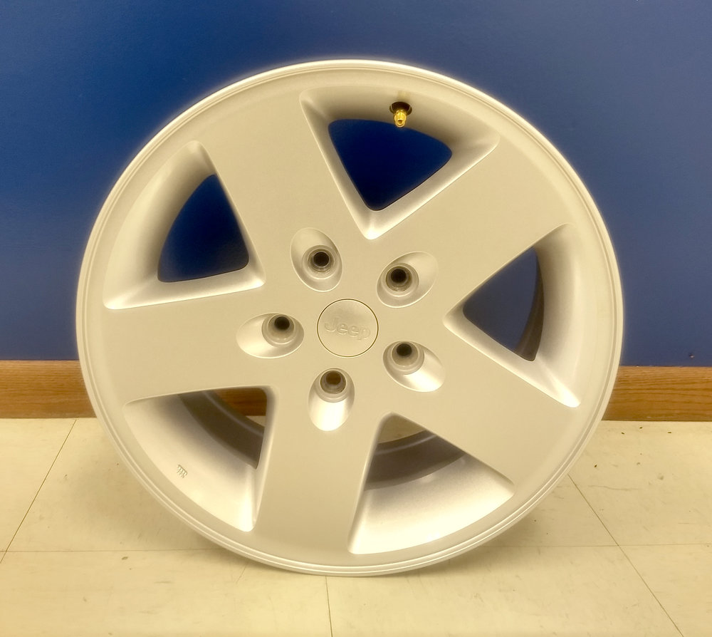 - OEM Jeep Wrangler 2007-2018 rims. 5 on 5.5 lug pattern. Showroom price $400.00 for all 5 rims.