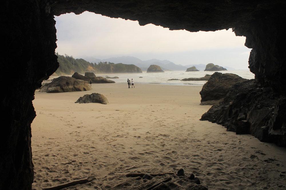 Sea caves at Crescent Beach.