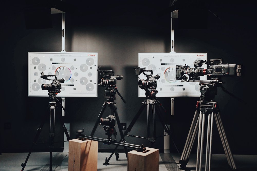 Production Academy - A full production suite housed with multiple cameras, digital touch screen displays, and a separate audio production station. This complete package is perfect for schools looking to start a global newscast, stream live board meetings/sporting events, and create podcasts.
