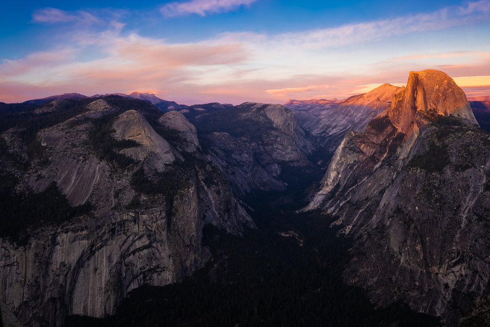 Half Dome at sunset, seen from the Glacier Point Overlook.