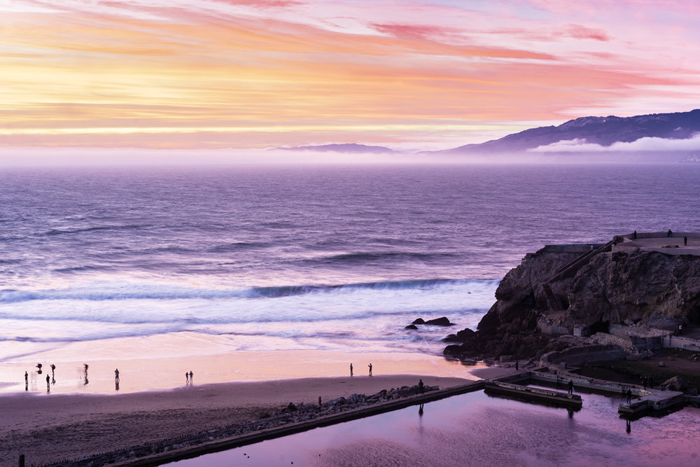 What was that about California sunsets? The sky really was that purple and orange and yellow and red at Lands End in San Francisco. This is another image I've struggled to get entirely to my satisfaction, but I think I'm getting close.