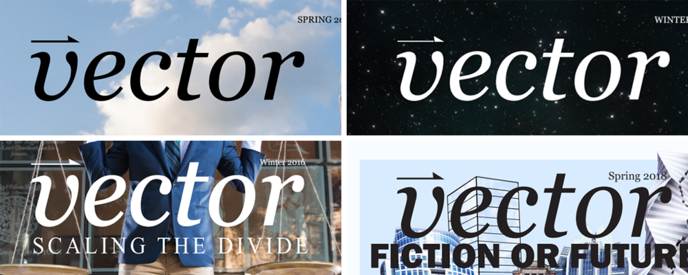 Some of the old logos of Vector from Spring 2013 (Top Left), Winter 2013 (Top Right), Winter 2016 (Bottom Left), and Spring 2018 (Bottom Right).