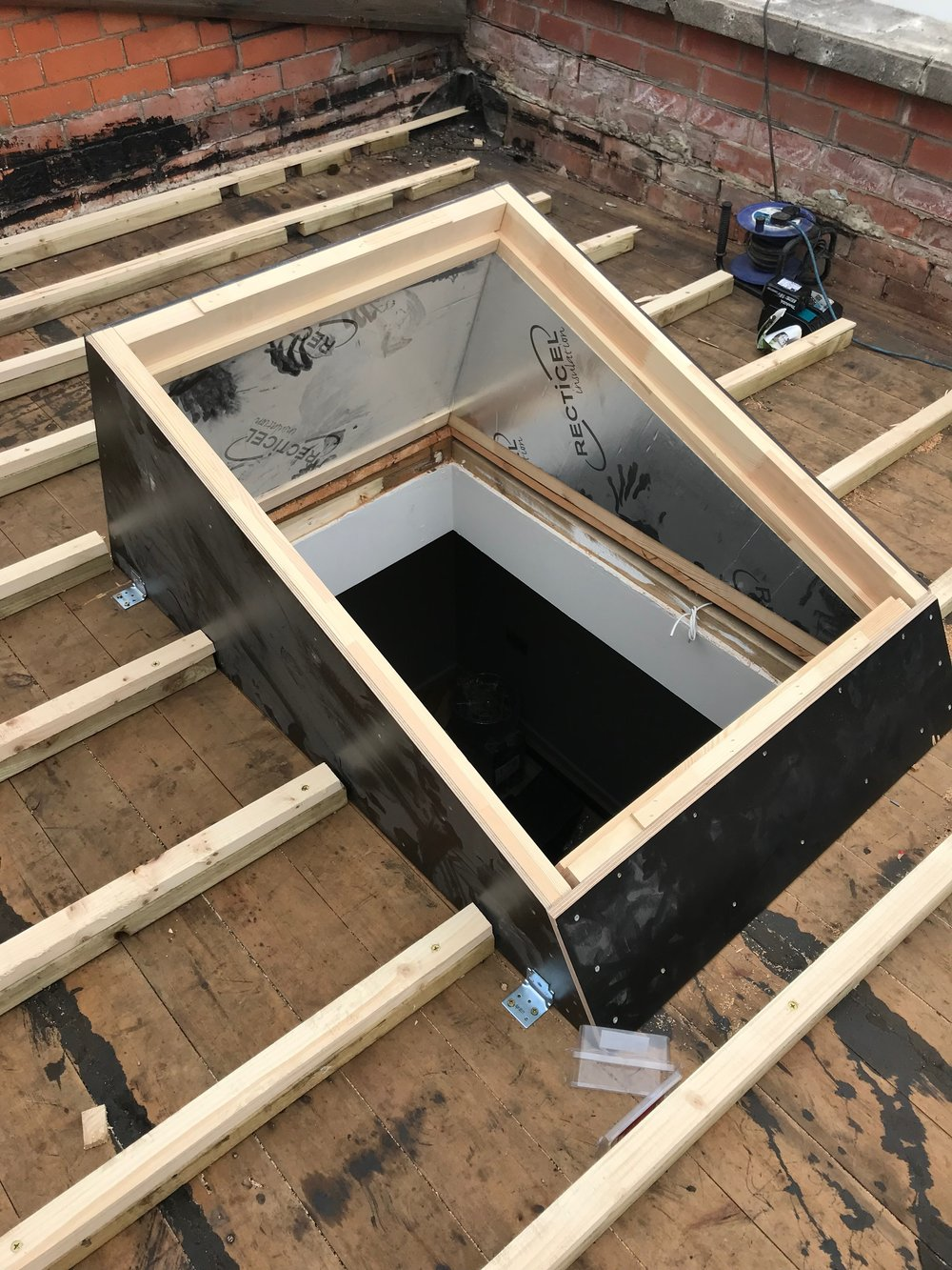 A perfect fit - We then plasterboarded the inside of the aperture to make sure everything was aligned correctly to allow maximum sunlight into an otherwise quite dark room.