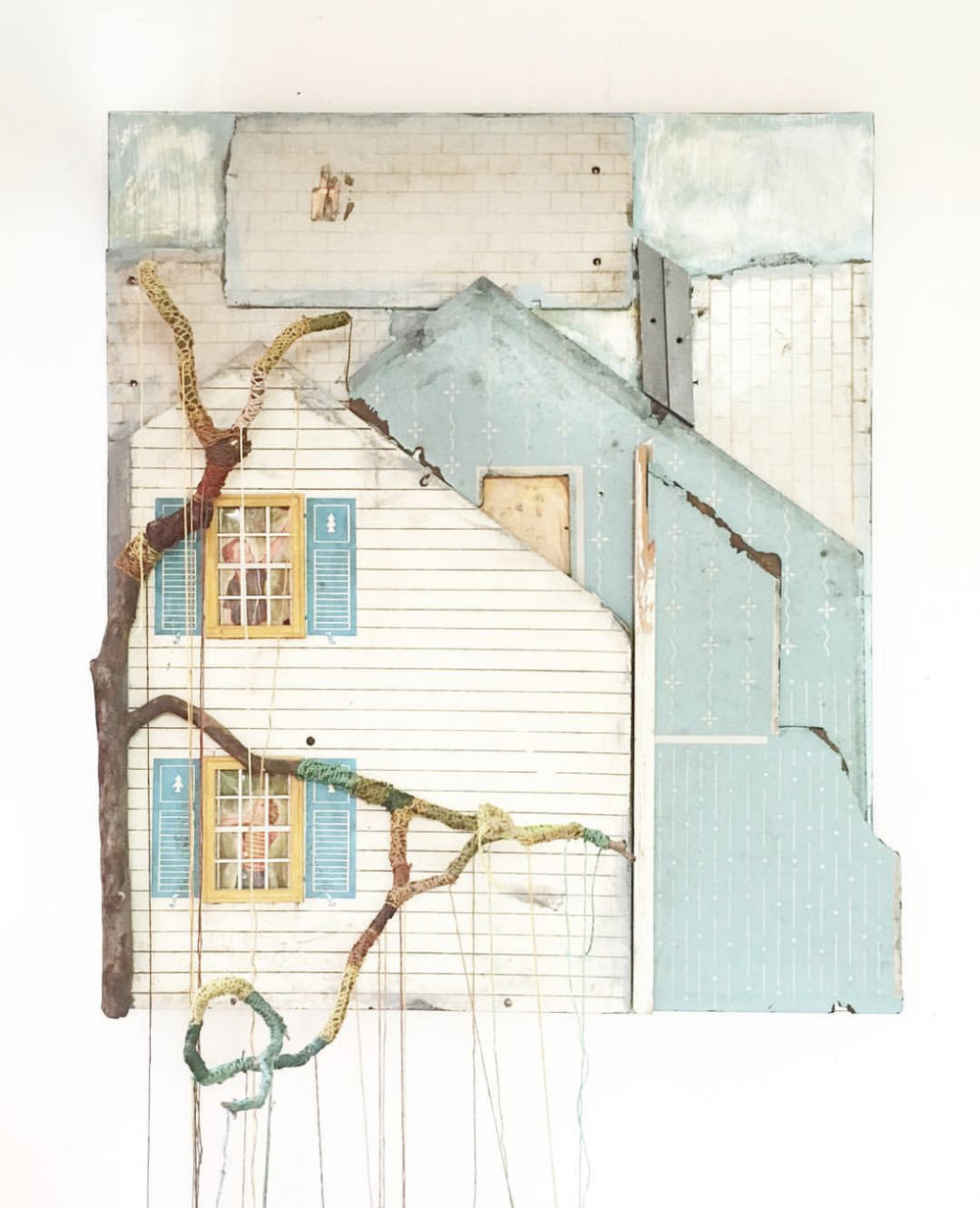 """No Matter Where It's Seed Fell, It Made a Tree Which Struggled to Reach the Sky,"" 2013, Acrylic, Collage, Found Objects, Embroidery Thread, Wood on Panel"