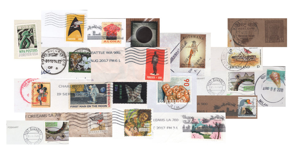 Timestamped collection (with a neat 2017  thermochromic ink  total solar eclipse of the sun stamp)