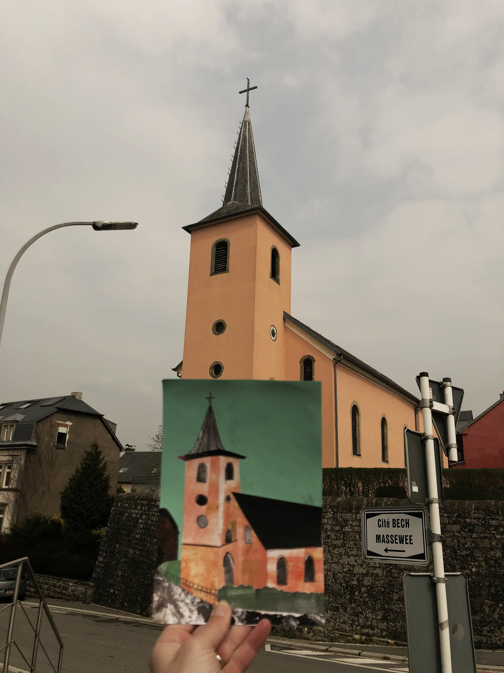 I've found that most of the villages here in Luxembourg are all centered around a church. Mine is orange.