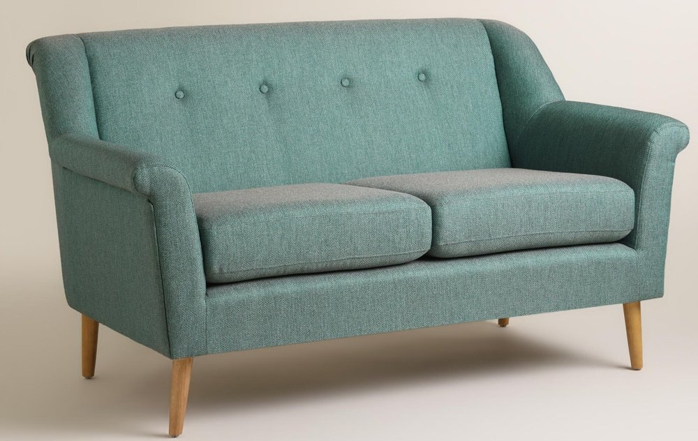 In such a great fabric of peacock teal and gray fleck, this mid-century modern loveseat is a charming, quirky, and confident addition to your home! A great choice for modern or eclectic spaces, the Teal Kaira Love Seat is one of my favs.