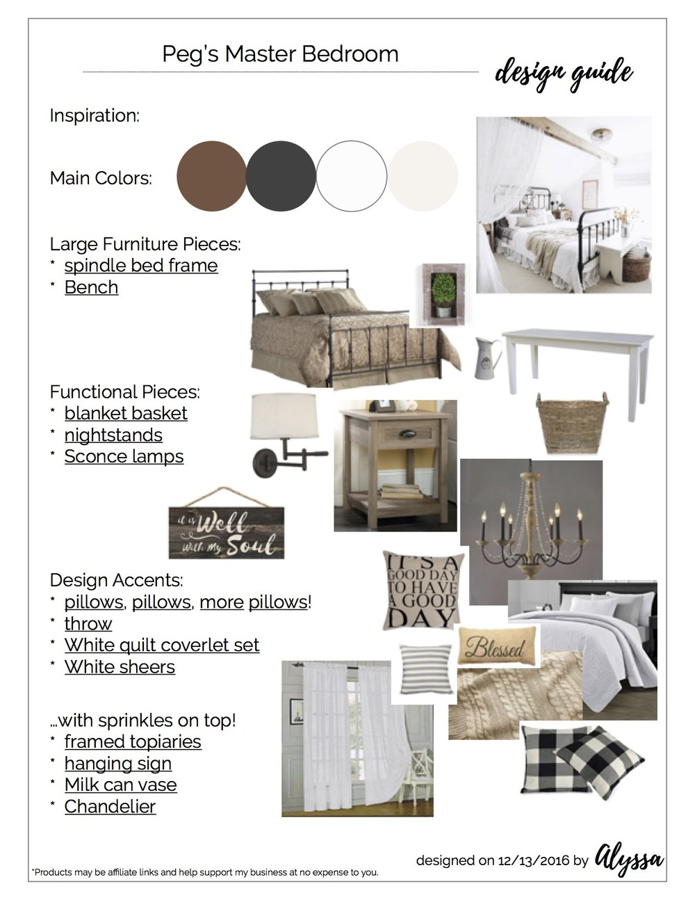 Based on Peg's inspiration and the layout of her room- we put together a Design Guide for her new Master Bedroom. Photos are examples of products, and are not mine.