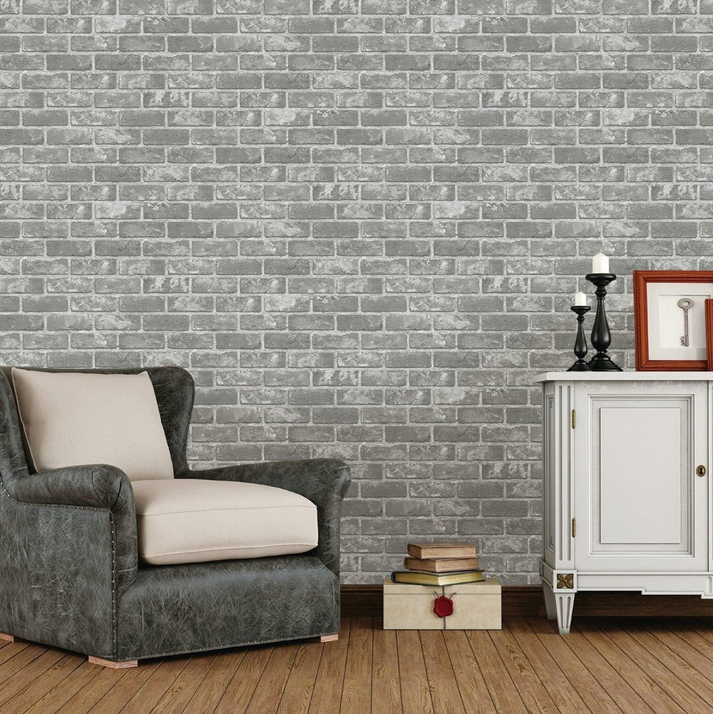 I love the color of this wallpaper, but the repeat of the brick shading stands out to me a little too much. On a smaller wall this would be beautiful.