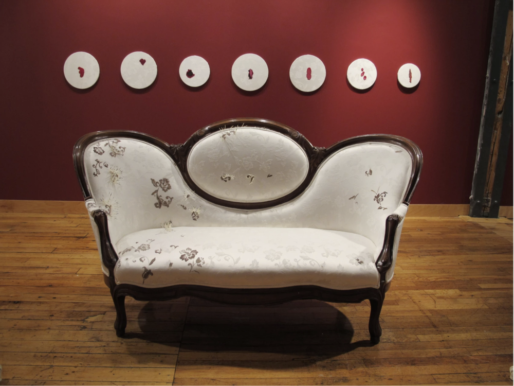 Vanessa Dion Fletcher, Colonial Comfort, 2016 (detail). Settee (re-upholstered settee, menstrual blood, porcupine quills) 73 x 46 x 39 inches. Courtesy of Vanessa Dion Fletcher.R